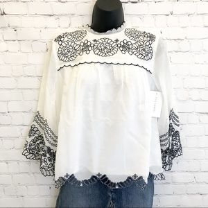 Foxiedox 'Louisa' white embroidered boho top small